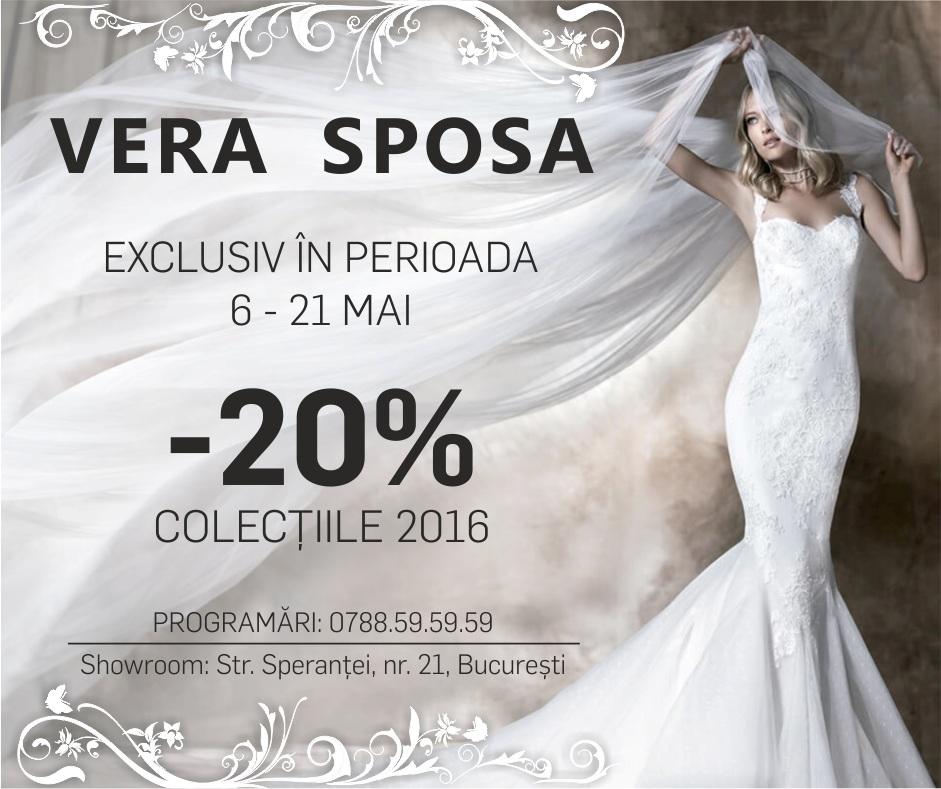 20% reducere la rochiile din stocul 2016, exclusiv la Vera Sposa